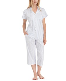 Eileen West Floral-Print Cotton Pajama Set