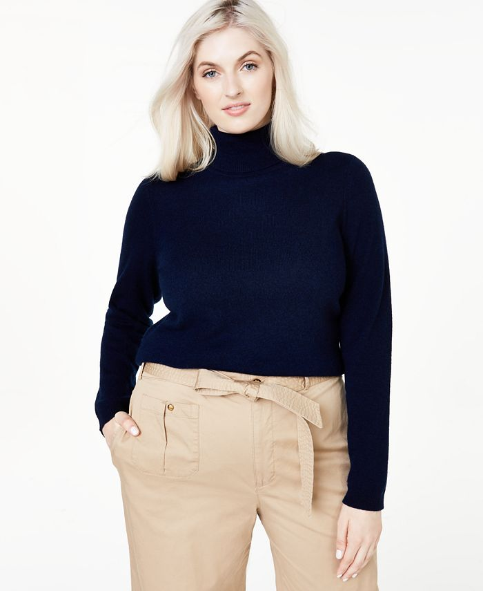 Charter Club - Plus Size Cashmere Turtleneck Sweater
