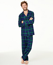 Matching Men's Black Watch Plaid Flannel Pajamas Set, Created For Macy's