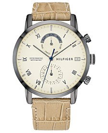 Men's Tan Leather Strap Watch 44mm