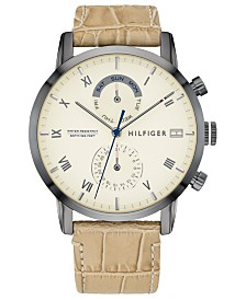 Tommy Hilfiger Men's Tan Leather Strap Watch 44mm, Created For Macy's