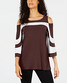 Alfani Petite Colorblocked Cold-Shoulder Top, Created for Macy's