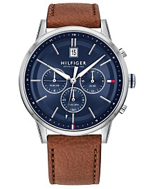 Tommy Hilfiger Men's Brown Leather Strap Watch 43mm, Created for Macy's