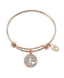 """Faith Hope Love"" Crystal Cross Adjustable Bangle Bracelet in Rose Gold-Tone Stainless Steel"