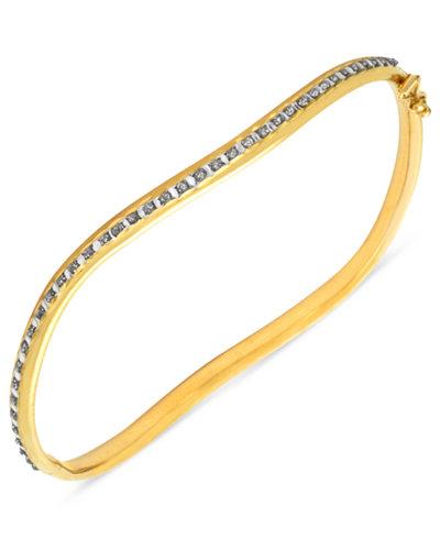 14k Gold Bracelet, Diamond Accent Wavy Bangle Bracelet