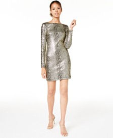 Teeze Me Juniors' Metallic Snake-Print Dress