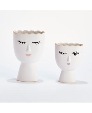 Margaux Set of 2 Vases Includes 2 Designs: Wink and Smile - Porcelain