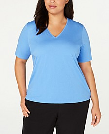 Plus Size Cotton V-Neck Top