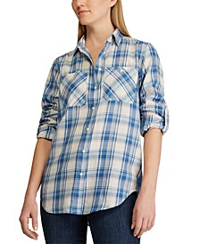 Petite Plaid-Print Cotton Button-Down Shirt