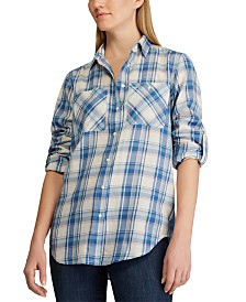 Lauren Ralph Lauren Petite Plaid-Print Cotton Button-Down Shirt