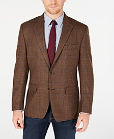Men's Classic-Fit UltraFlex Stretch Windowpane Plaid Sport Coat