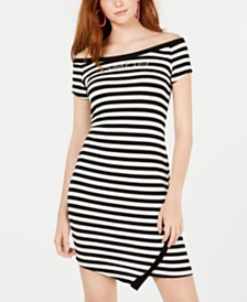 bebe Juniors' Striped Bling-Logo Bodycon Dress