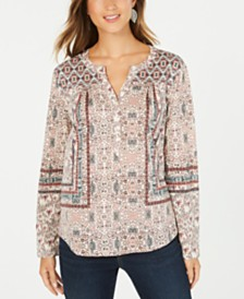 Style & Co Boho Printed Henley Top, Created for Macy's