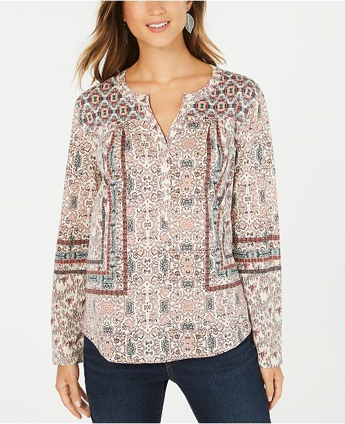 Style & Co Petite Scarf-Print Peasant Top, Created For Macy's