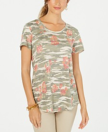 Cotton Printed Scoop-Neck Top, Created for Macy's