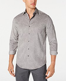 Men's Stretch Paisley-Print Corduroy Shirt, Created for Macy's