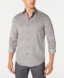 Tasso Elba Men's Stretch Paisley-Print Corduroy Shirt, Created for Macy's
