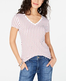 Tommy Hilfiger Cotton V-Neck Foulard Top, Created for Macy's