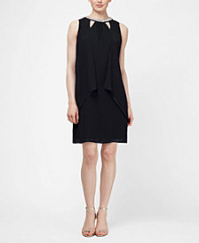 SL Fashions Chiffon Cut-Out Beaded Neckline Dress