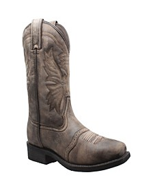 "Men's 11"" Square Toe Stonewashed Pull On Western Boot"