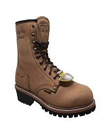 "AdTec Men's 9"" Water Resistant Steel Toe Logger Boot"