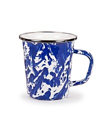Golden Rabbit Cobalt Swirl Enamelware Collection Latte Mug, 16oz