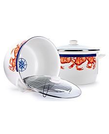 Golden Rabbit Crab House Enamelware Collection 18 Quart Stock Pot