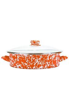 Golden Rabbit Orange Swirl Enamelware Collection 8 Quart Saute Pan