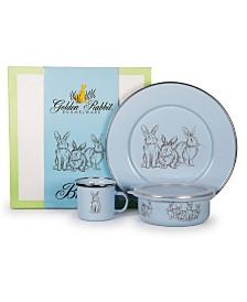 Golden Rabbit Blue Bunnies Enamelware Collection 3 Piece Kids Dinner Set