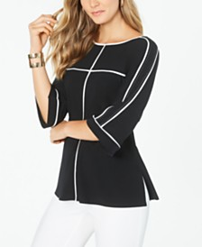 Alfani Bell Sleeve Top With Piping, Created for Macy's