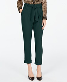 I.N.C. Tapered-Leg Paperbag Pants, Created for Macy's