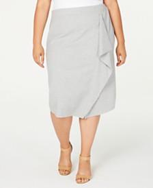 Calvin Klein Plus Size Striped Midi Pencil Skirt
