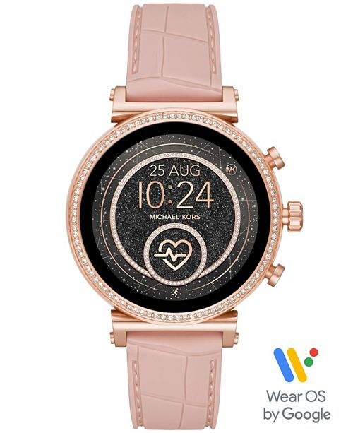 Michael Kors Access Women's Sofie Heart Rate  Embossed Blush Silicone Strap Touchscreen Smart Watch 41mm, Powered by Wear OS by Google™