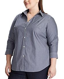 Plus Size Wrinkle-Resistant Button-Down Shirt