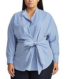Plus Size Tie-Waist Long-Sleeve Cotton Shirt
