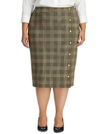 Lauren Ralph Lauren Plus Size Glen Plaid-Print Button-Trim Skirt