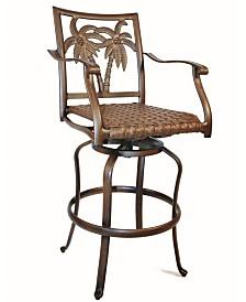 Coco Palm Swivel Woven Seat Barstool