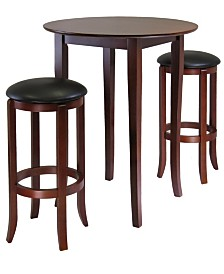 Winsome Wood Fiona Round 3-Piece High/Pub Table Set