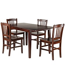 Wood Anna 5-Piece Dining Table Set with Slat Back Chairs