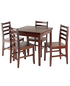 Winsome Wood Pulman 5-Piece Extension Table with Ladder Back Chairs Set