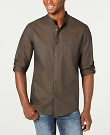 I.N.C. Men's Textured Band Collar Shirt, Created for Macy's