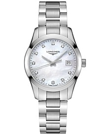 Women's Swiss Conquest Classic Diamond-Accent Stainless Steel Bracelet Watch 34mm