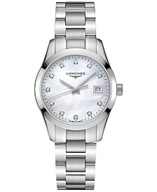 Longines Women's Swiss Conquest Classic Diamond-Accent Stainless Steel Bracelet Watch 34mm