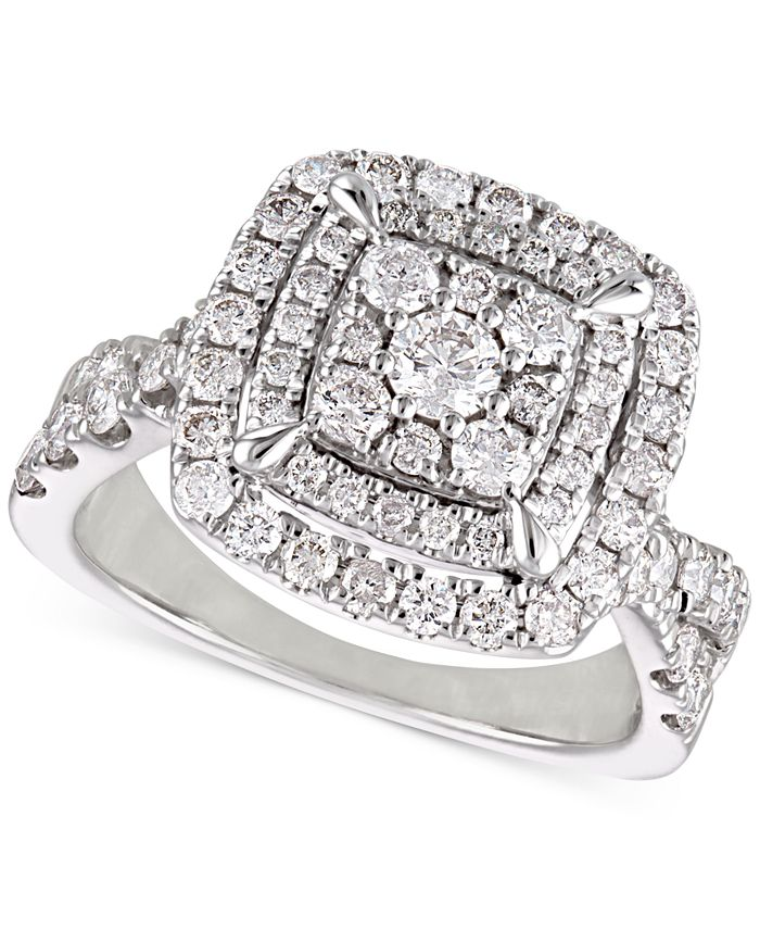 Macy's - Diamond Cluster Cushion Halo Engagement Ring (1-1/2 ct. t.w.) in 14k White Gold