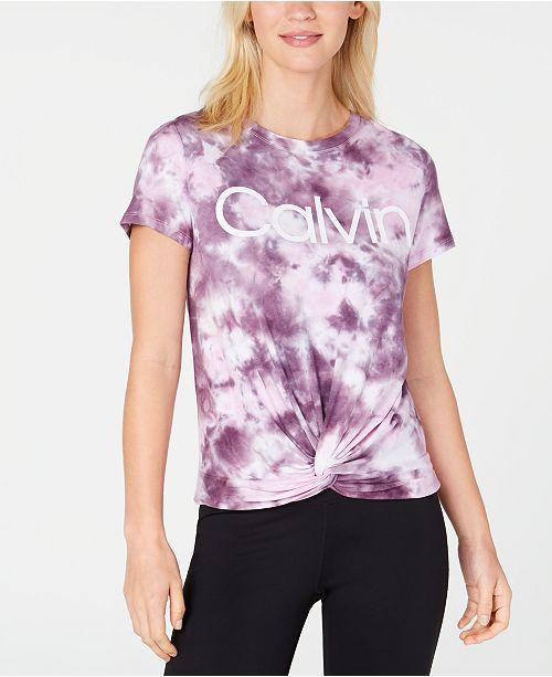 Calvin Klein Tie-Dyed Twist-Front T-Shirt