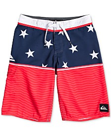 Quiksilver Big Boys Everyday Division Star-Print Swim Trunks