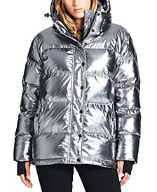 Oversized Metallic Hooded Down Puffer Coat