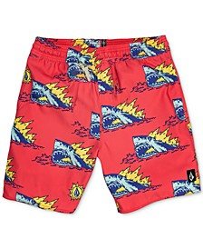 Big Boys Shark-Print Swim Trunks