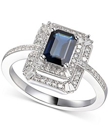 Sapphire (1 ct. t.w.) & Diamond (1/3 ct. t.w.) Ring in 14k White Gold (Also Available in Emerald and Certified Ruby)