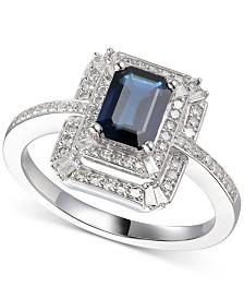 Sapphire (1 ct. t.w.) & Diamond (1/3 ct. t.w.) Ring in 14k White Gold